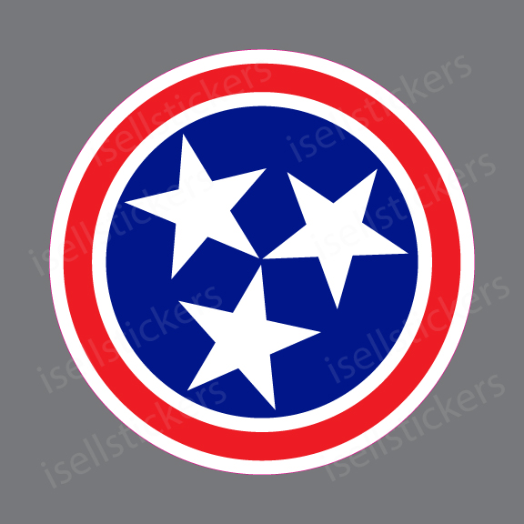 "Tennessee State Flag car bumper sticker 5/"" x 3/"""