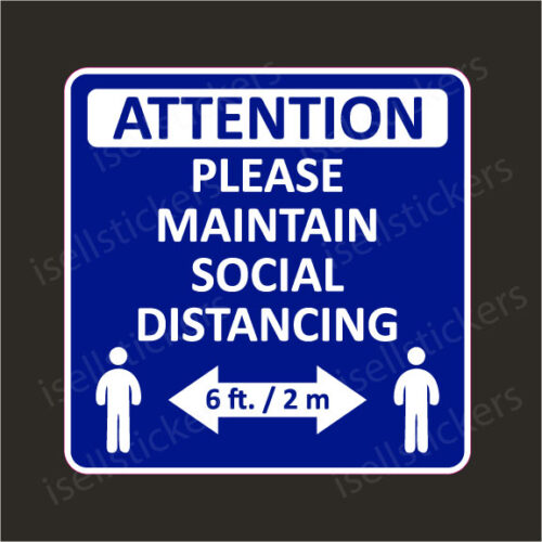 Social Distancing Notice 6 feet Apart Restaurant Window Door Wall Sticker Decal