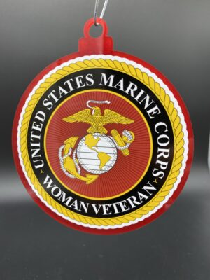 US Marine Corps Woman Female Veteran Christmas Tree Ornament Double Sided
