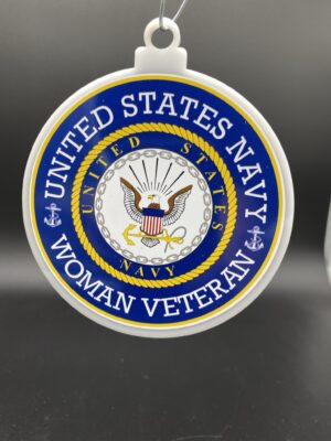 US Navy Woman Female Veteran Christmas Tree Ornament Double Sided